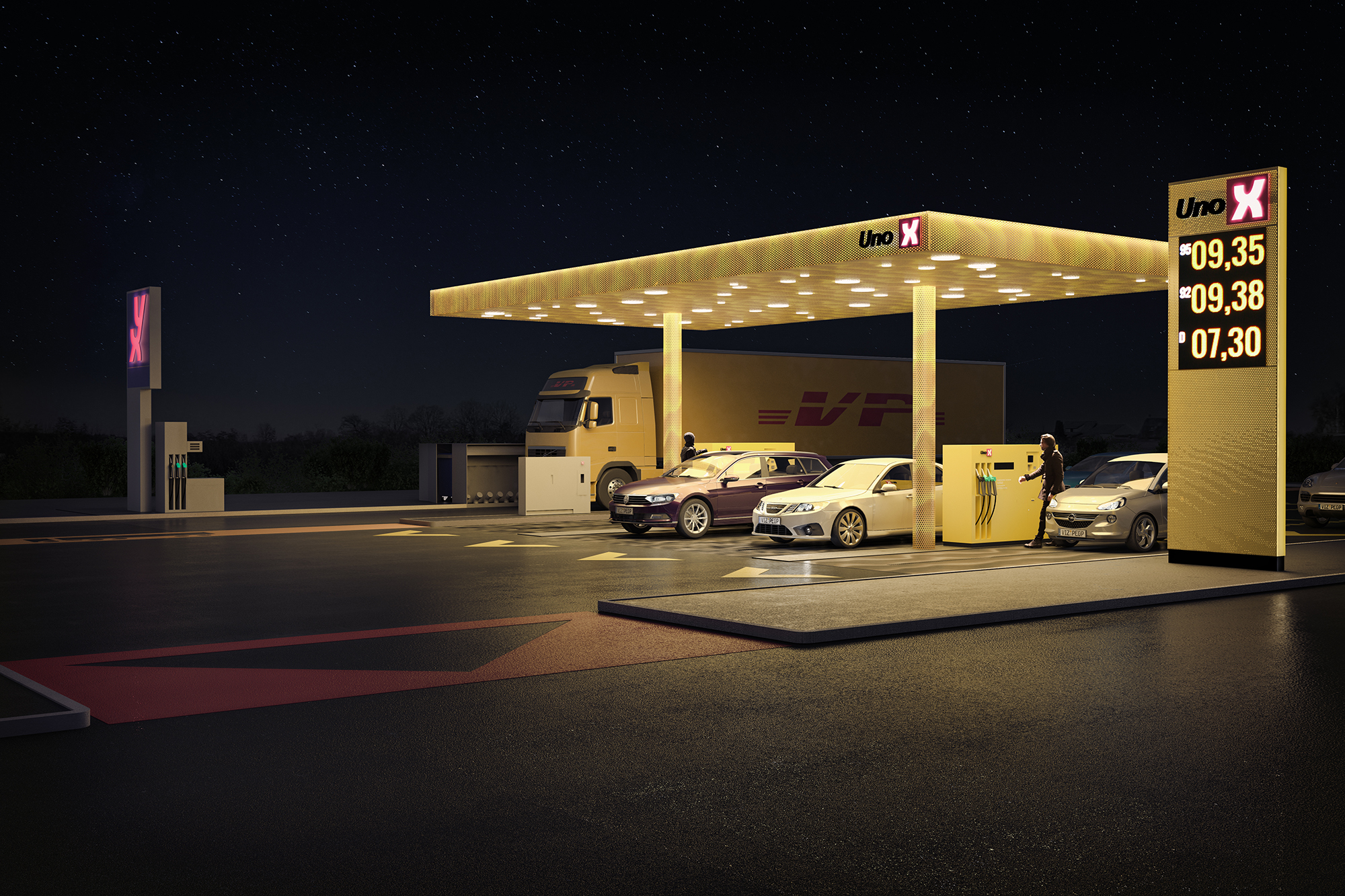 UNO-X tankstation nat - for Arkitektfirmaet NORD