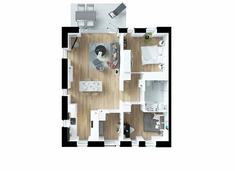 Sofiendal Enge Kilehuse Type F 3D-plan